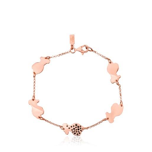 Pink Vermeil Silver Twist Bracelet with Spinel