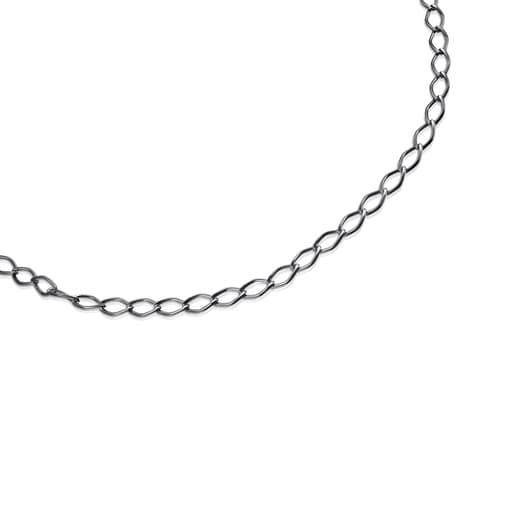 Τσόκερ TOUS Chain με ρόμβους από ασήμι Dark Silver
