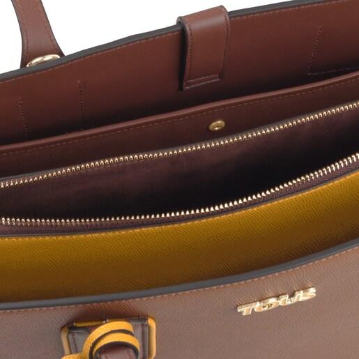 Bolsa city grande Tous Essential marrón y mostaza