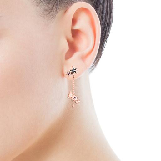 Boucles d'oreilles Teddy Bear Stars courte/longue en Argent vermeil rosé, Spinelle et Rubis