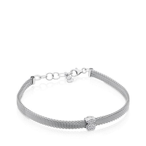 Steel and White Gold TOUS Icon Mesh Bracelet with Diamonds Bera motif 0,6cm.