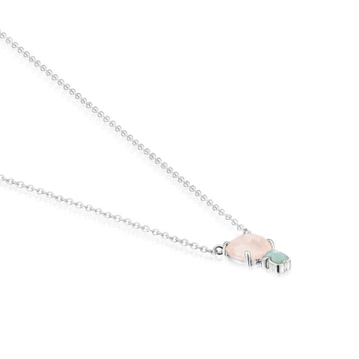 Mini Color Necklace in Silver with Pink Quartz and Amazonite