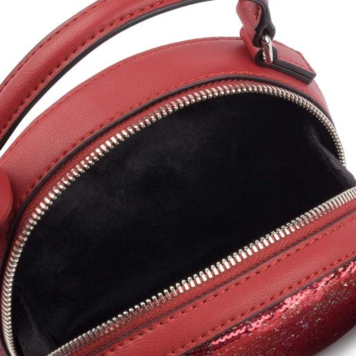 Mala de tiracolo mini Dulzena Sequins vermelho