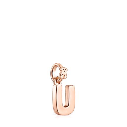 Pingente Alphabet letra U em Prata Vermeil rosa