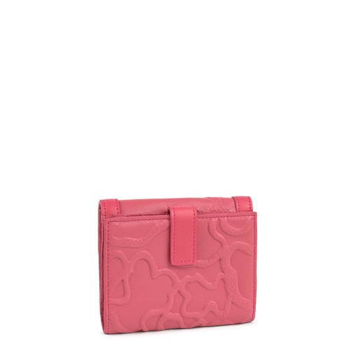 Small pink leather Tous Icon LOVE wallet