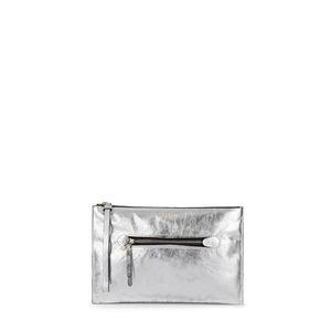 5f8277292 Clutch Tulia Crack de Piel plata