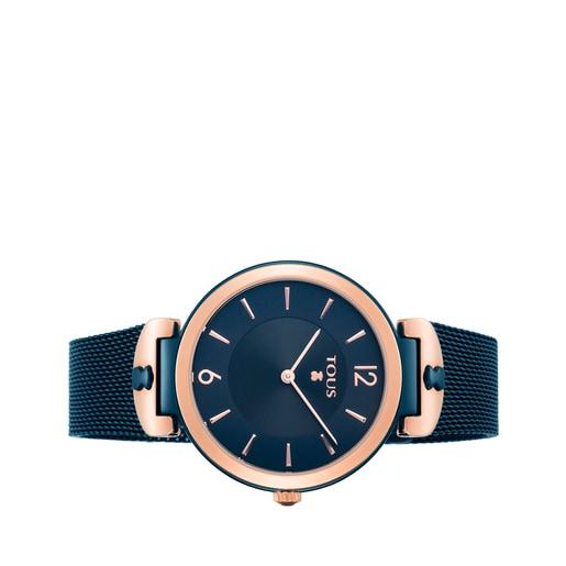 Reloj S-Mesh bicolor acero/IP rosado y azul