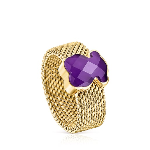 Gold-colored IP Steel Mesh Color Ring with Amethyst