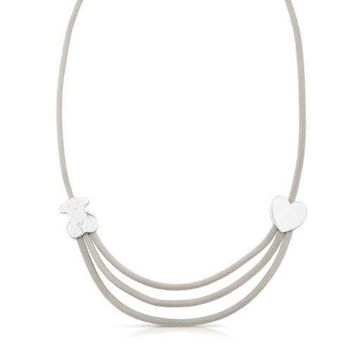Silver and Steel Icon Mesh Necklace