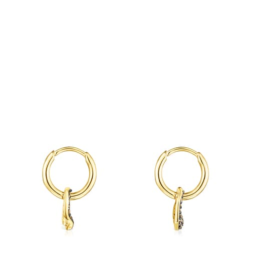 Short Silver Vermeil Nenufar Earrings with Diamonds