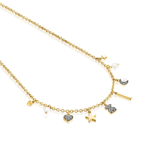 Nocturne Necklace in Silver Vermeil with Diamond and Pearl motifs