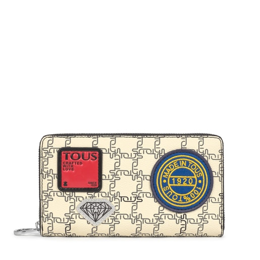 Medium black and beige TOUS Logogram Patch Wallet