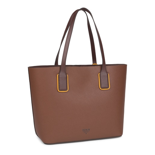 Large brown and mustard colored TOUS Essential Tote bag