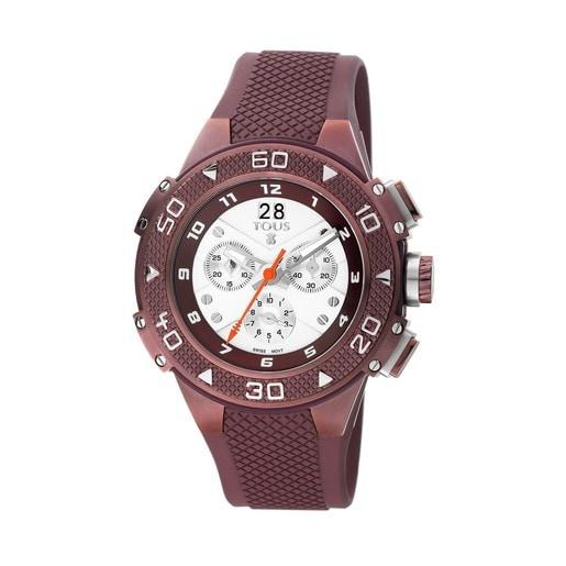 Rellotge Xtous d'acer IP morat amb corretja de silicona morada