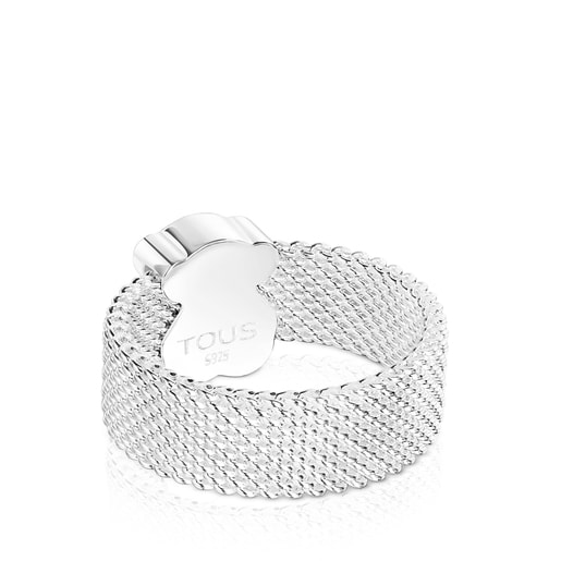 Silver TOUS Mesh Color Ring with faceted Tourmalinated quartz Bear motif