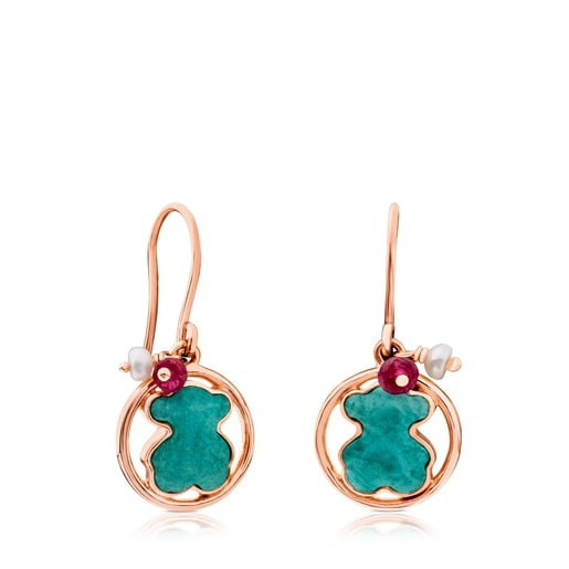Rose Vermeil Silver Camille Earrings with Amazonite