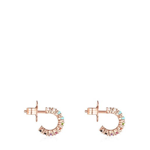 Aretes pequeños Straight de Plata Vermeil rosa y Gemas