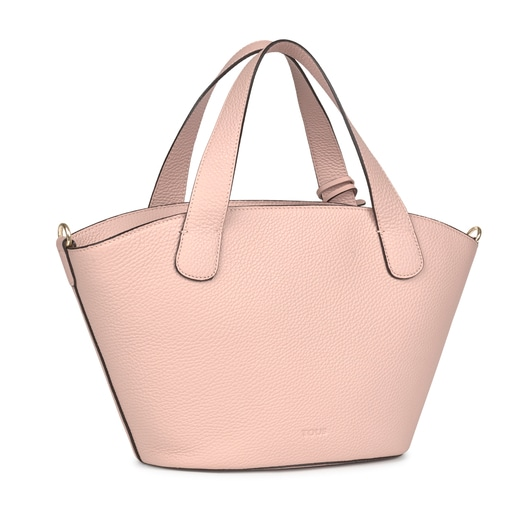 Small pale pink Leather Leissa Shopping bag