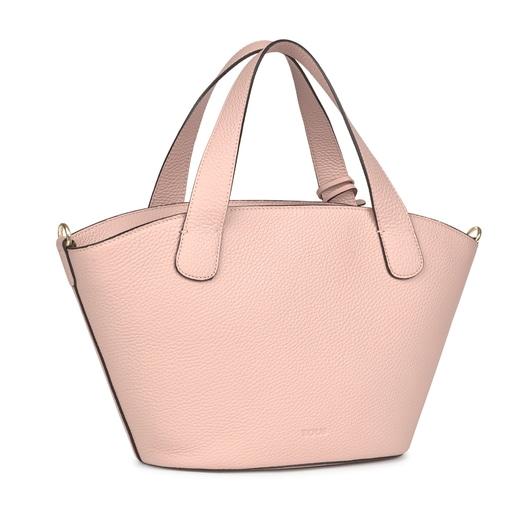 Bolsa shopping pequeño Leissa de Piel en color rosa claro