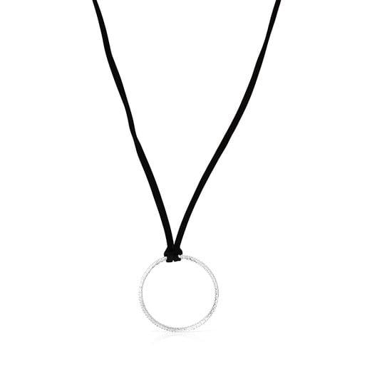 Kreis-Halskette Straight aus Silber mit schwarzer Kordel