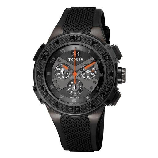 Montre Xtous bi-couleur en Acier IP noir avec bracelet en Silicone noir