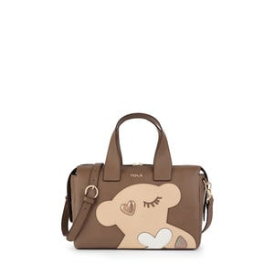 Bowling-Tasche Patch Art in Taupe