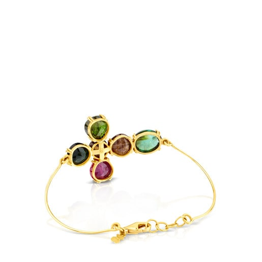 ATELIER Precious Gemstones Bangle in Gold with Tourmalines and Quartz