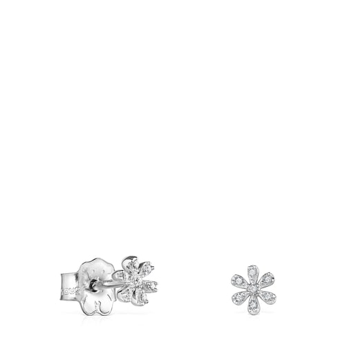 White Gold with Diamonds Blume Earrings