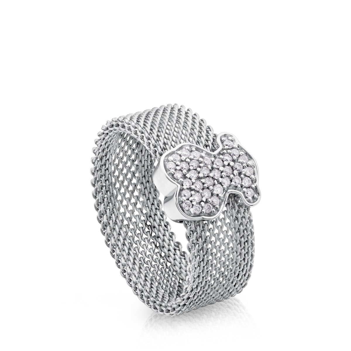 e2a465014ca21 Steel and White gold Icon Mesh Ring with Diamonds