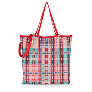 Multi-red Jodie Tartan Bears Shopping Bag