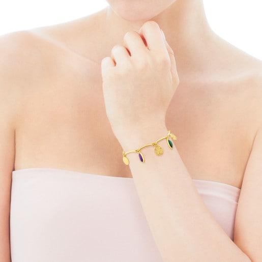 Vermeil Silver TOUS Camee Bracelet with multicolor Gemstones