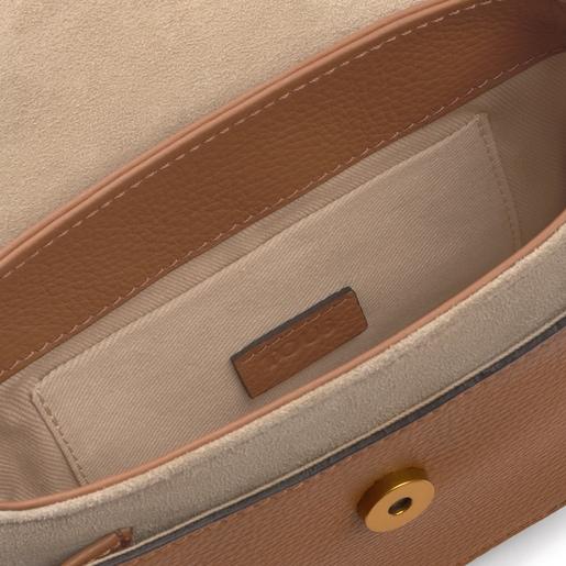 Bandolera T Hold Chain marrón-beige de piel
