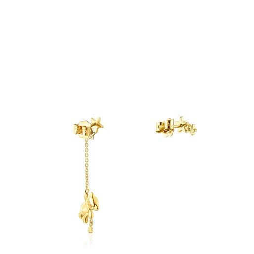 Pendientes corto/largo de oro y diamantes Teddy Bear Stars