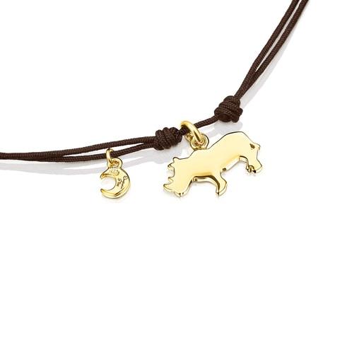 Pulsera rinoceronte de plata vermeil y cordón marrón Save