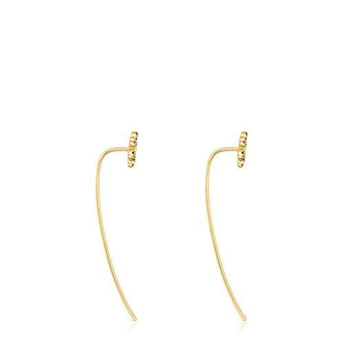 Long Silver Vermeil Real Mix Bloom Earrings with Gemstones
