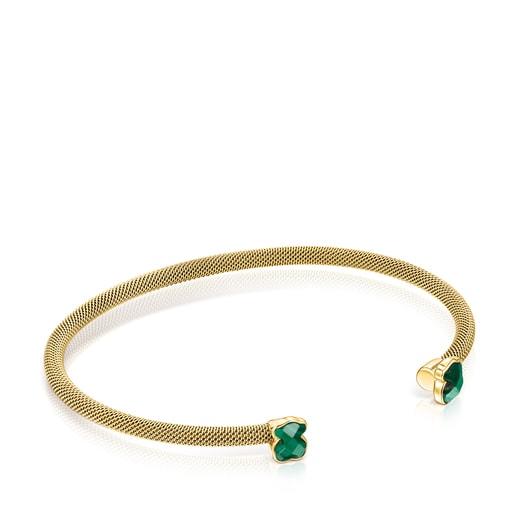 Bracelet Mesh Color étroit en Acier IP doré et Malachite