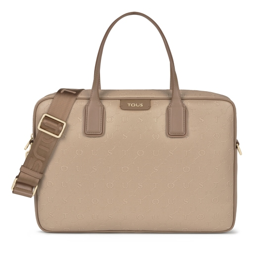 Taupe colored Script Day Briefcase