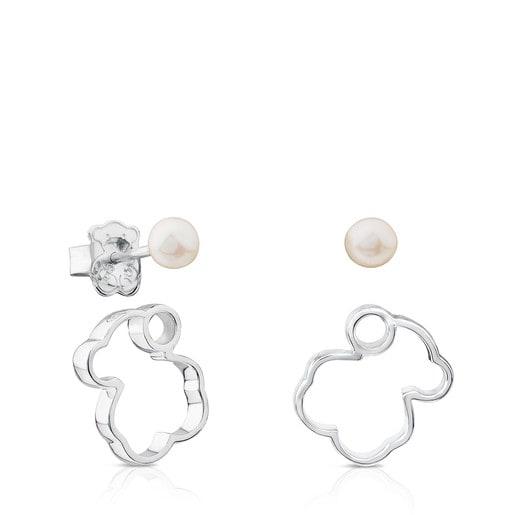 Silver Silueta Earrings with Pearl