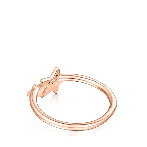 Anillo Teddy Bear Stars de plata vermeil rosa espinela y rubí