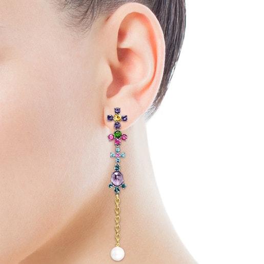 Boucles d'oreilles Real Sisy grandes en Titane et Or avec Pierres précieuses