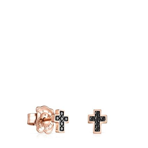 Aros Motif cruz de Plata Vermeil rosa con Espinelas