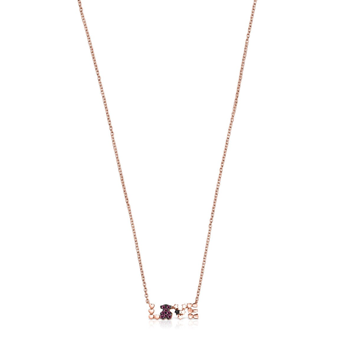 Rose Gold Vermeil San Valentín love Necklace with Ruby and Spinel