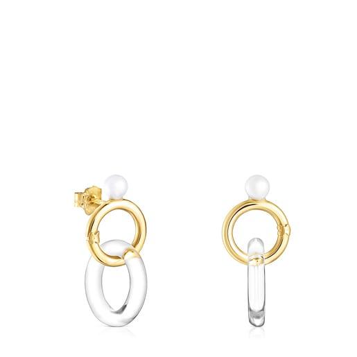Ohrringe Luz aus Gold mit Kristall und Perle