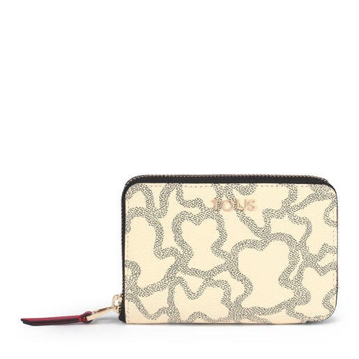 Small Kaos Icon Wallet in Multi Beige - Red