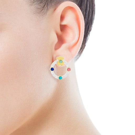 Boucles d'oreilles Super Power en Or et Nacre avec Pierres précieuses
