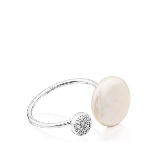 Δαχτυλίδι Alecia από Πλατίνα με Διαμάντι και Μαργαριτάρι