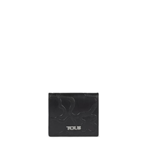 Carteira mini TOUS Icon em Pele preta