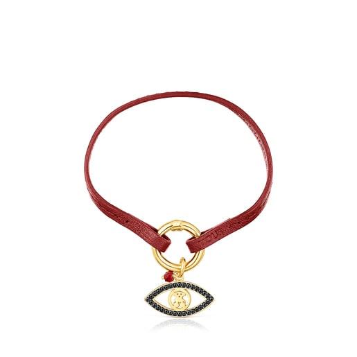 Pulsera TOUS Good Vibes ojo de plata vermeil, gemas y cuero rojo