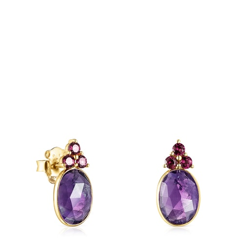 Gold Luz Earrings with Amethyst and Rhodolite