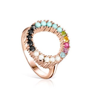 Rose Gold Vermeil Straight disc Ring with Gemstones